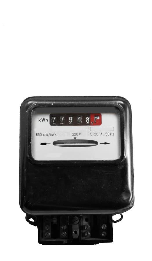 Mètre de l'électricité pour mesurer la consommation d'énergie images stock
