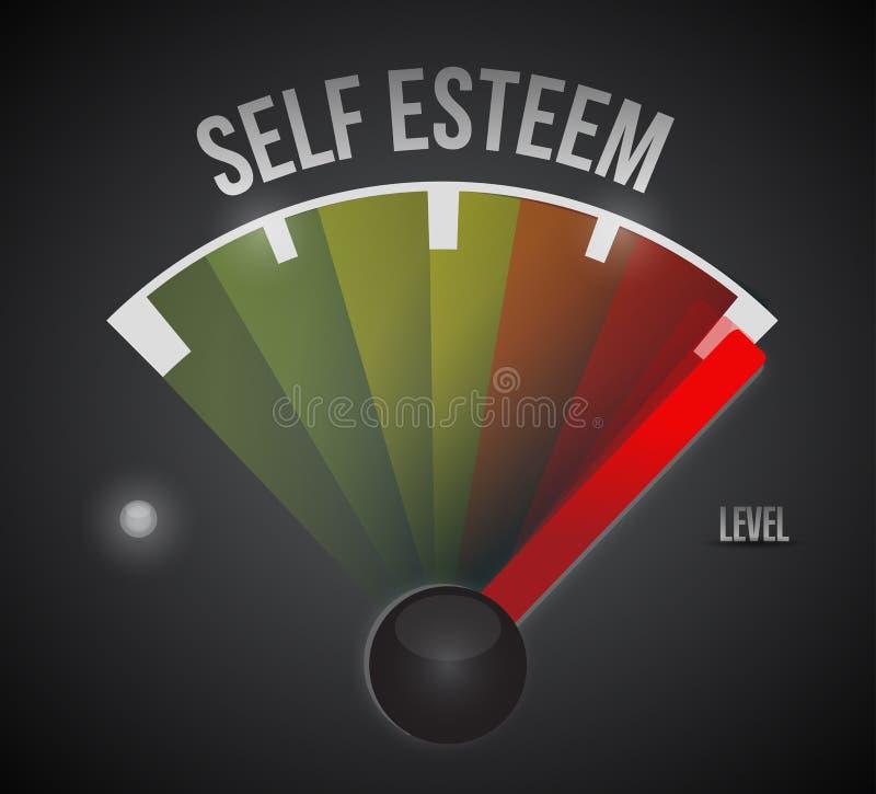 Mètre de niveau de mesure d'amour-propre du bas à la haute illustration libre de droits