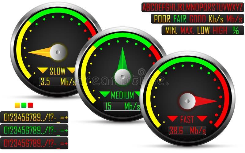Mètre de test de vitesse d'Internet illustration libre de droits
