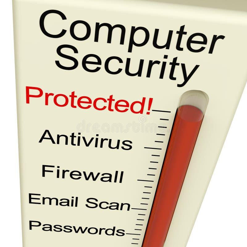 Mètre protégé de degré de sécurité d'ordinateur illustration de vecteur