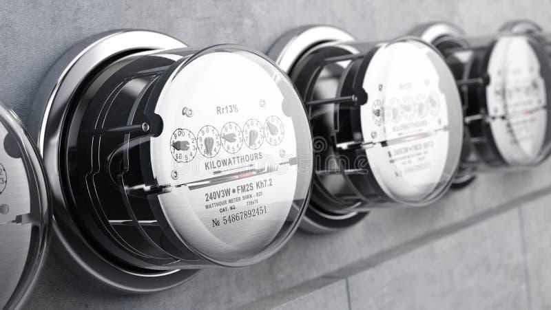 Mètres électriques de kilowattheure, mètres d'alimentation d'énergie illustration de vecteur