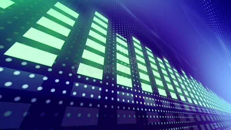 Mètres de la musique vu avec les lumières dynamiques illustration stock