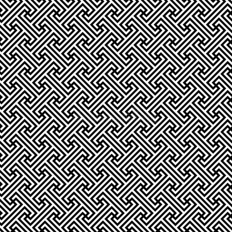 Méandre diagonal continu motif répété par frette grecque classique Dirigez la configuration sans joint Fond noir et blanc simple illustration stock