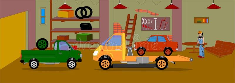 Mécanicien animé de fille de caractère, à l'arrière-plan du garage où elle travaille illustration libre de droits