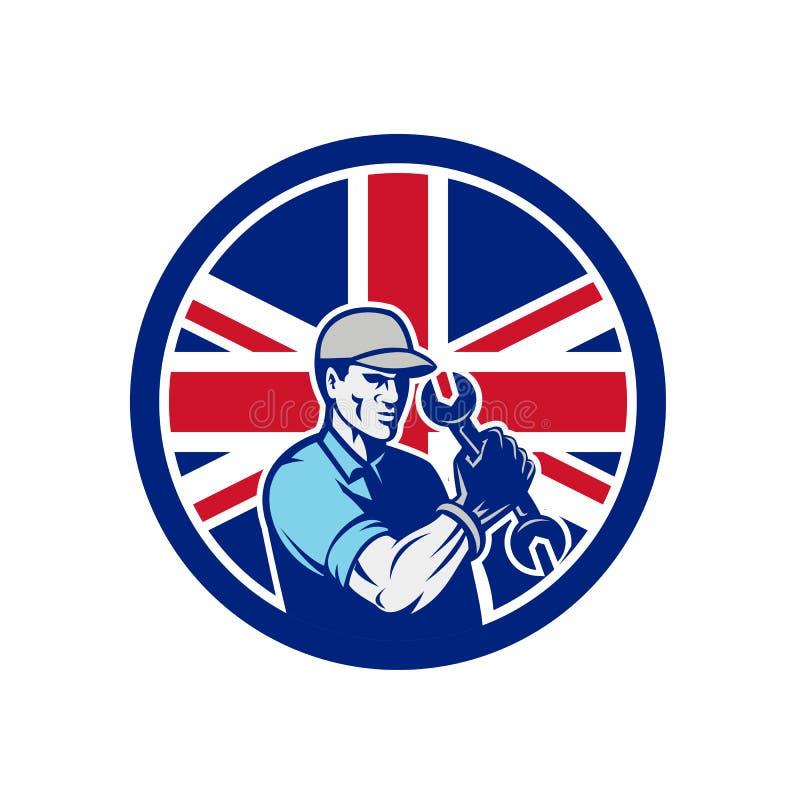 Mécanicien automobile britannique Union Jack Flag Icon illustration stock