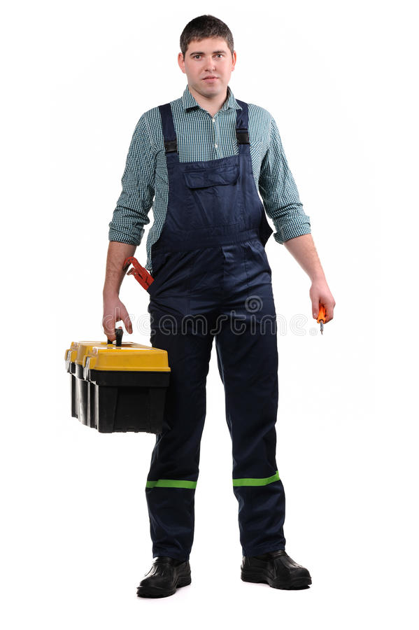 Mécanicien avec des outils image stock