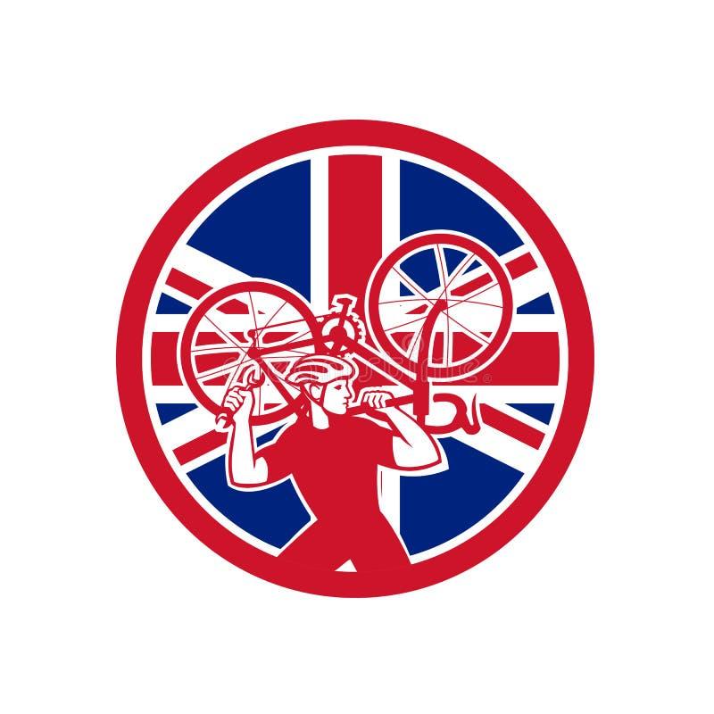 Mécanicien britannique Union Jack Flag Mascot de vélo illustration stock
