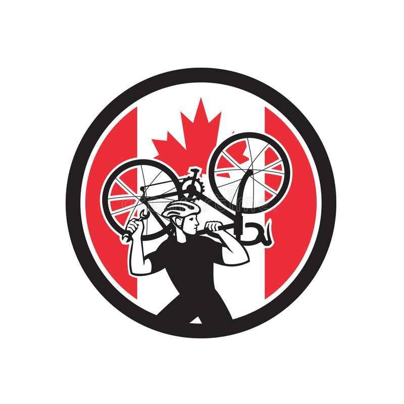 Mécanicien canadien Canada Flag Icon de vélo illustration stock