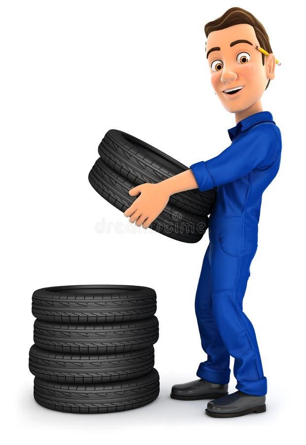 mécanicien 3d empilant des pneus illustration stock