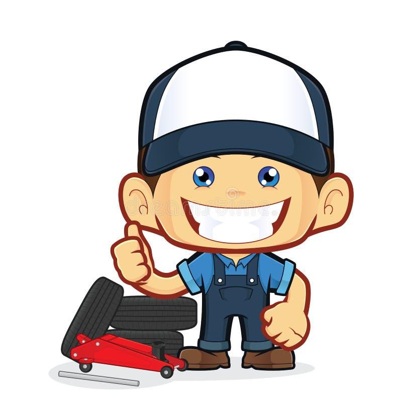 Mécanicien de service de pneu illustration de vecteur