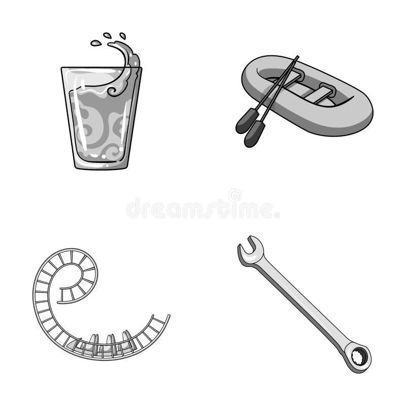 Mécanicien de voiture, loisirs, affaires et toute autre icône monochrome dans le style de bande dessinée clé, outil, réparation,  illustration libre de droits