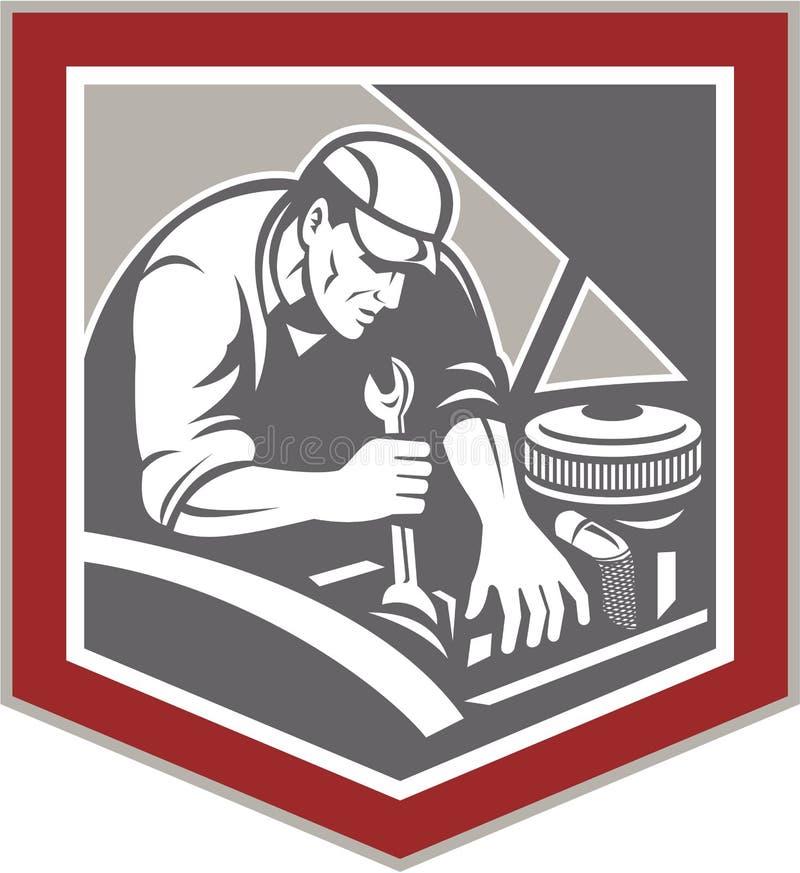 Mécanicien de voiture Repair Automobile Shield rétro illustration libre de droits