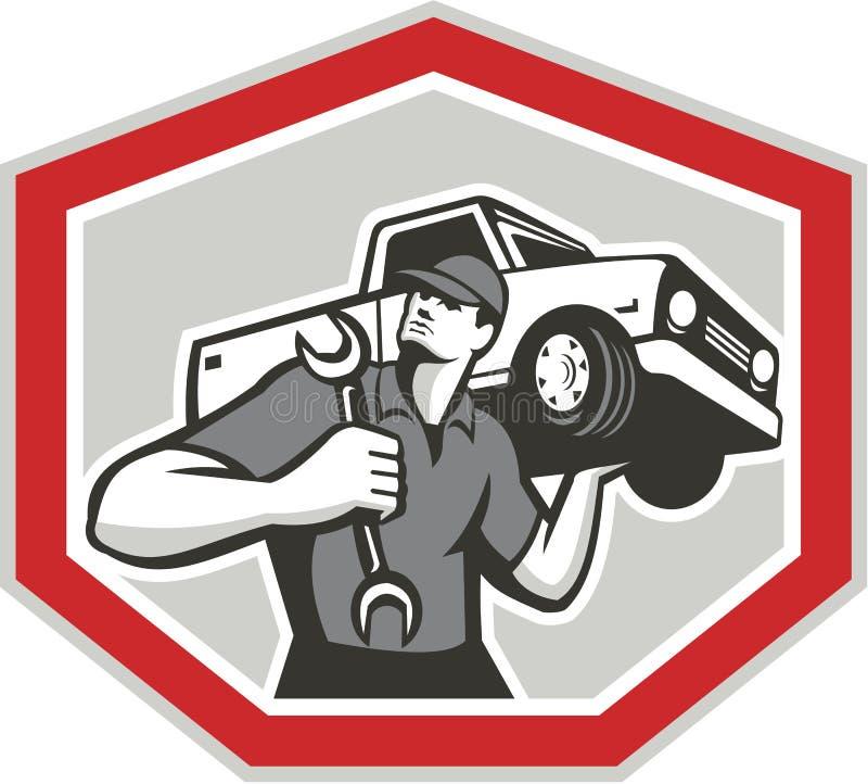 Mécanicien des véhicules à moteur Carrying Pick-Up Truck illustration stock
