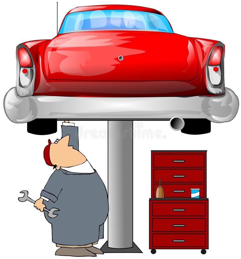 Mécanicien et un véhicule rouge illustration stock