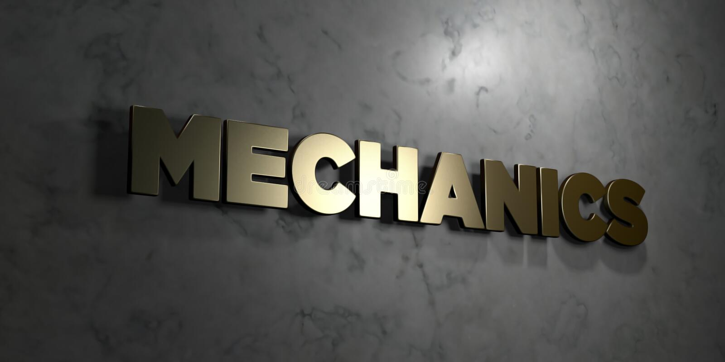 Mécanique - texte d'or sur le fond noir - photo courante gratuite de redevance rendue par 3D illustration libre de droits