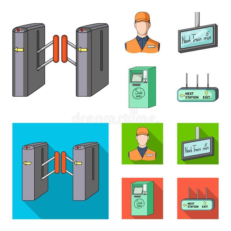 Mécanisme, électrique, transport, et toute autre icône de Web dans la bande dessinée, style plat Passage, public, transport, icôn illustration de vecteur