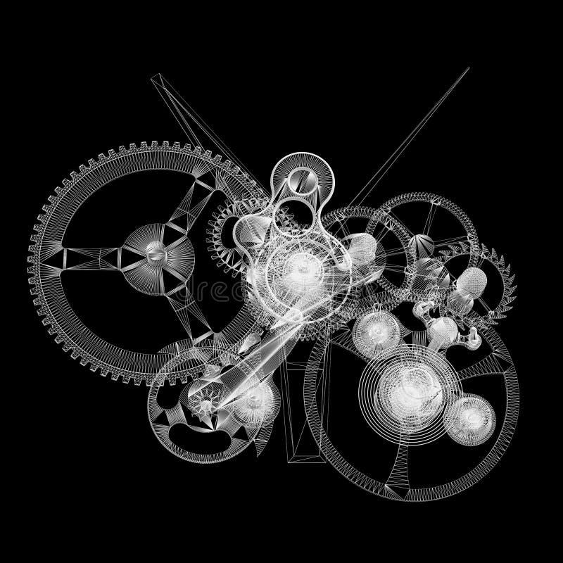 Mécanisme d'horloge. le Fil-cadre rendent illustration stock