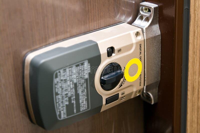 Mécanisme de blocage de trappe électronique photo stock