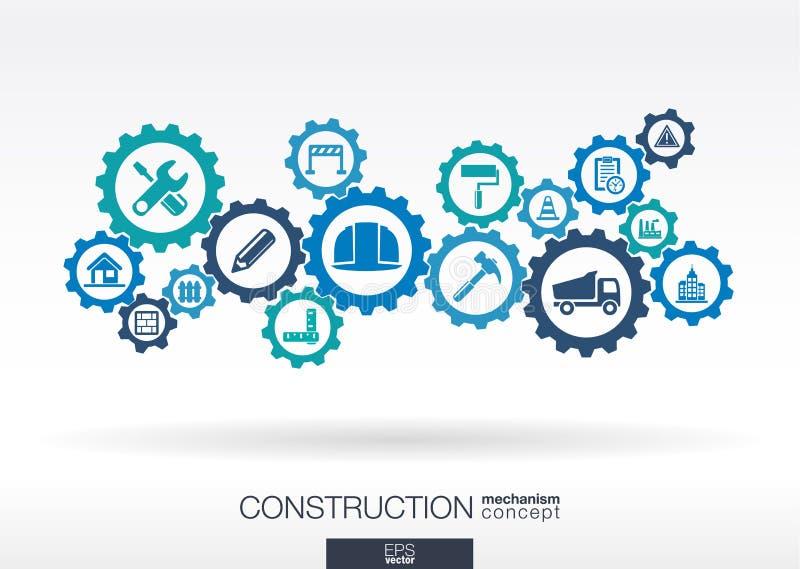 Mécanisme de construction Fond abstrait avec les vitesses reliées illustration libre de droits