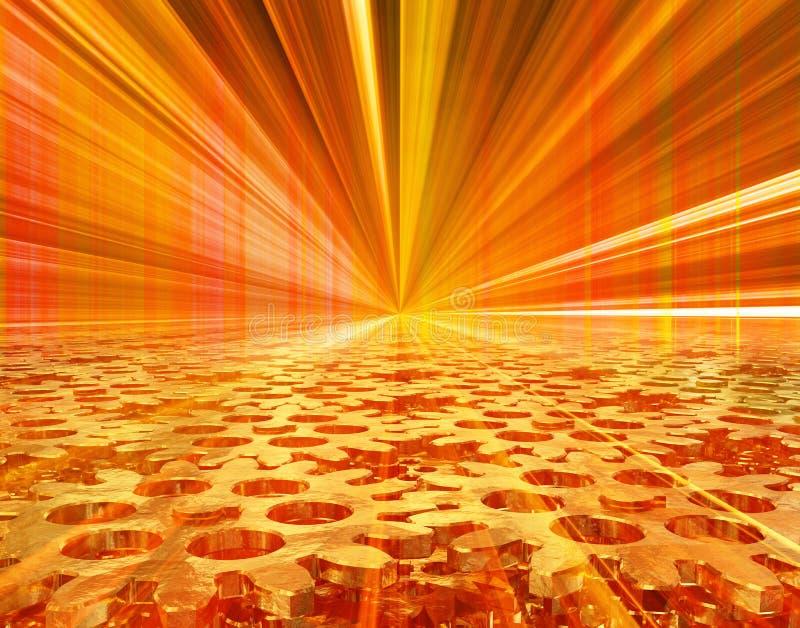 Mécanisme de vitesse d'or, s'étendant dans l'avenir sur un fond rouge-jaune illustration 3D illustration stock
