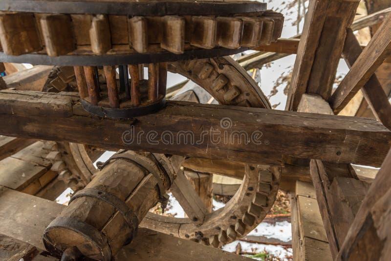 Mécanisme en bois d'un moulin à eau images libres de droits