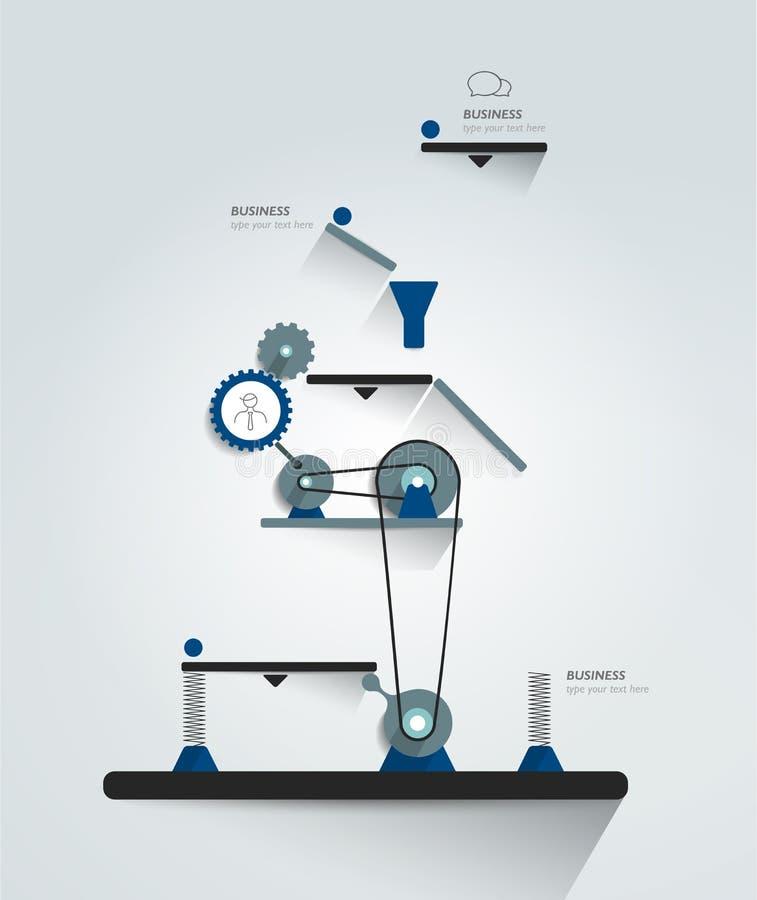 Mécanisme fonctionnant en mouvement Diagramme robotique d'Infographics, diagramme, plan illustration libre de droits