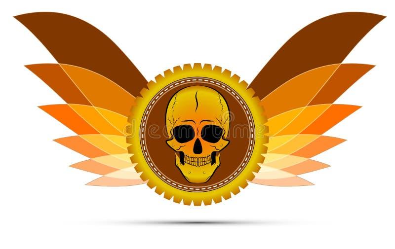 Médaille à ailes avec un crâne illustration de vecteur