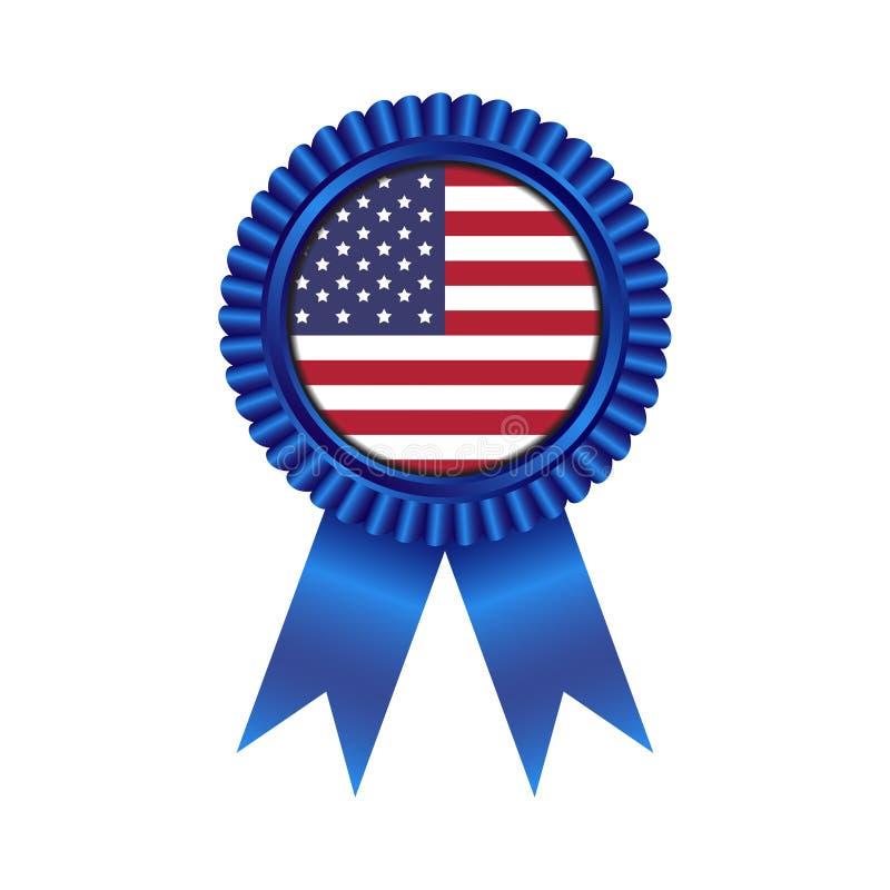 Médaille avec l'état uni de conception d'illustration de drapeau de l'Amérique images libres de droits