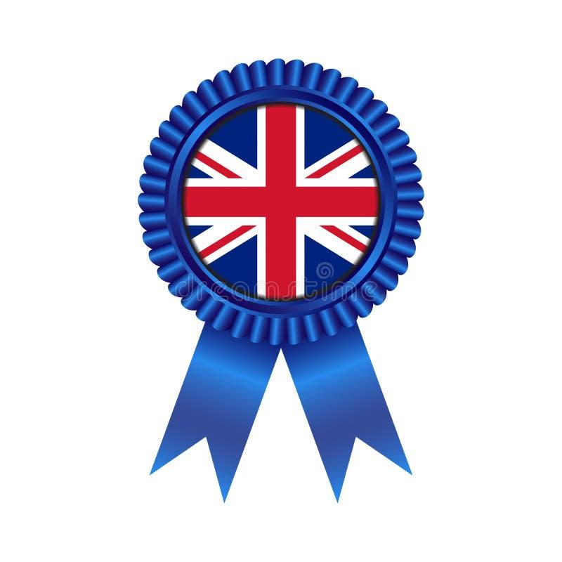 Médaille avec la conception d'illustration de drapeau du Royaume-Uni image libre de droits