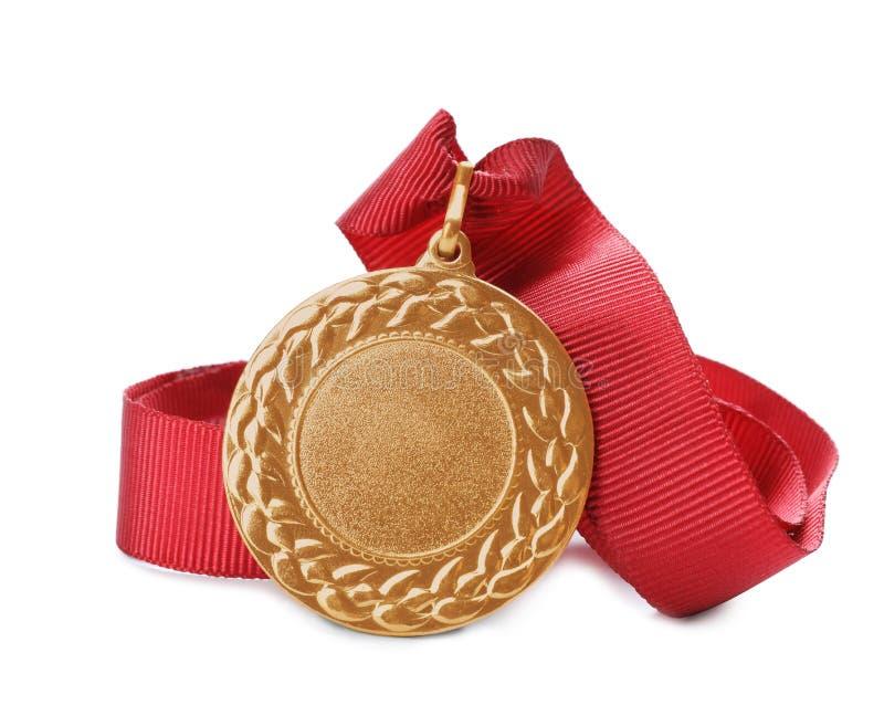 Médaille d'or avec l'espace pour la conception sur le fond blanc photos libres de droits