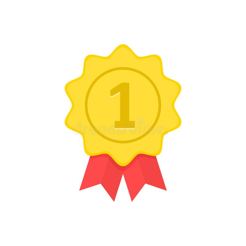 Médaille d'or avec les rubans rouges Premier endroit, gagnant, prix, concepts Illustration de vecteur illustration de vecteur