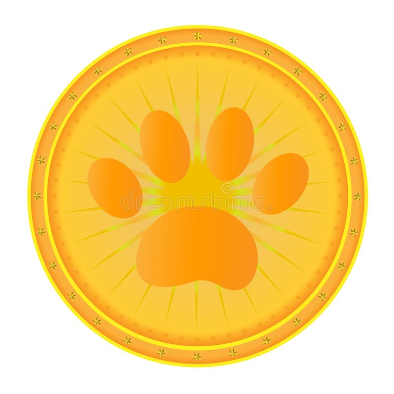 Médaille d'or de chien d'impression de patte illustration stock