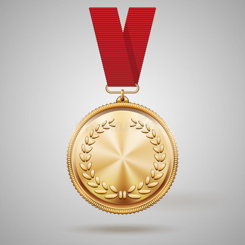 Médaille d'or de vecteur sur le ruban rouge illustration stock