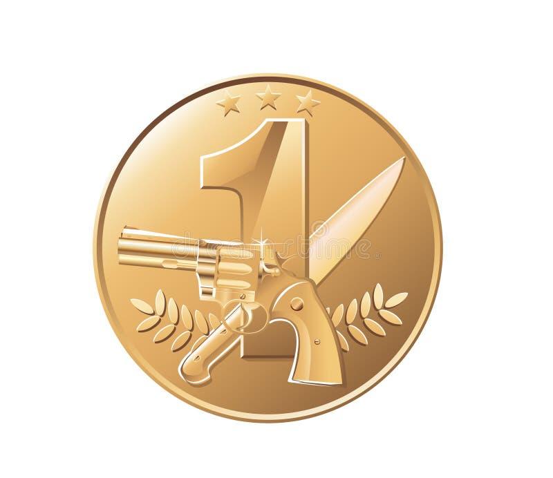 Médaille d'or, pièce de monnaie illustration libre de droits