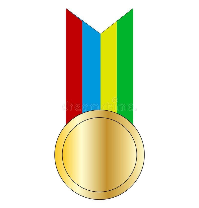 Médaille d'or sur un ruban illustration stock