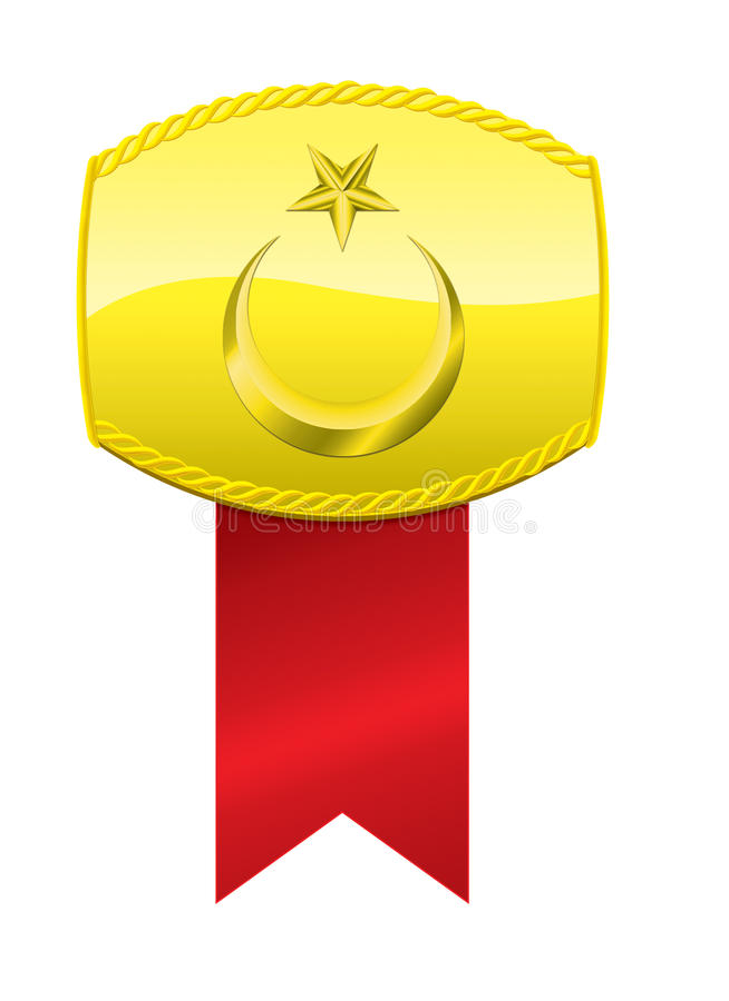 Médaille turque de drapeau et d'or illustration stock