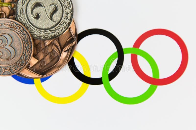 Médailles aux Jeux Olympiques image stock