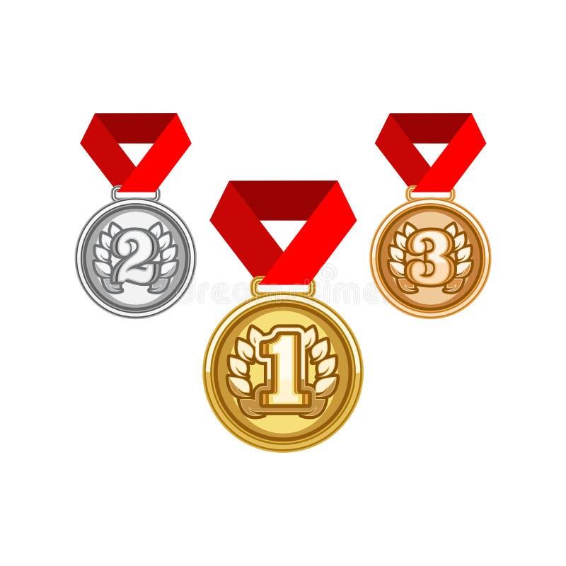 Médailles avec le ruban illustration de vecteur