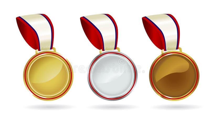 Médailles d'or argentées en bronze illustration stock