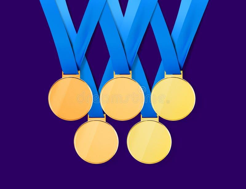 Médailles d'or avec le chemin illustration de vecteur