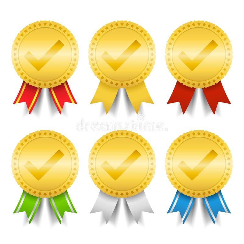 Médailles d'or avec le repère de contrôle illustration libre de droits