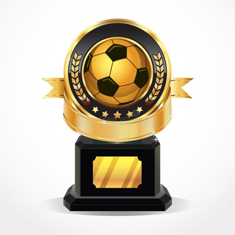Médailles d'or de récompense du football. illustration de vecteur