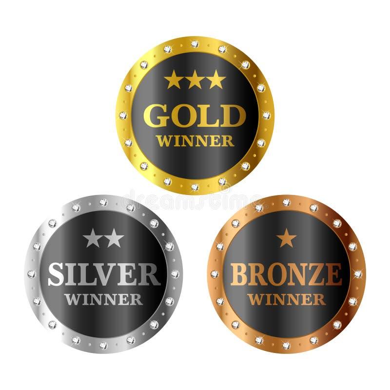Médailles de gagnant d'or, d'argent et de bronze illustration libre de droits
