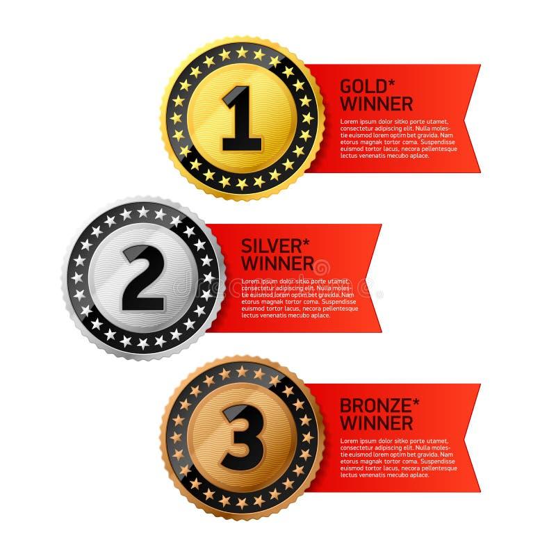 Médailles de gagnants d'or, d'argent et de bronze illustration stock