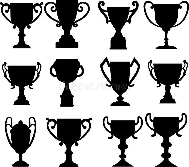 Médailles de tasse de champion réglées illustration de vecteur