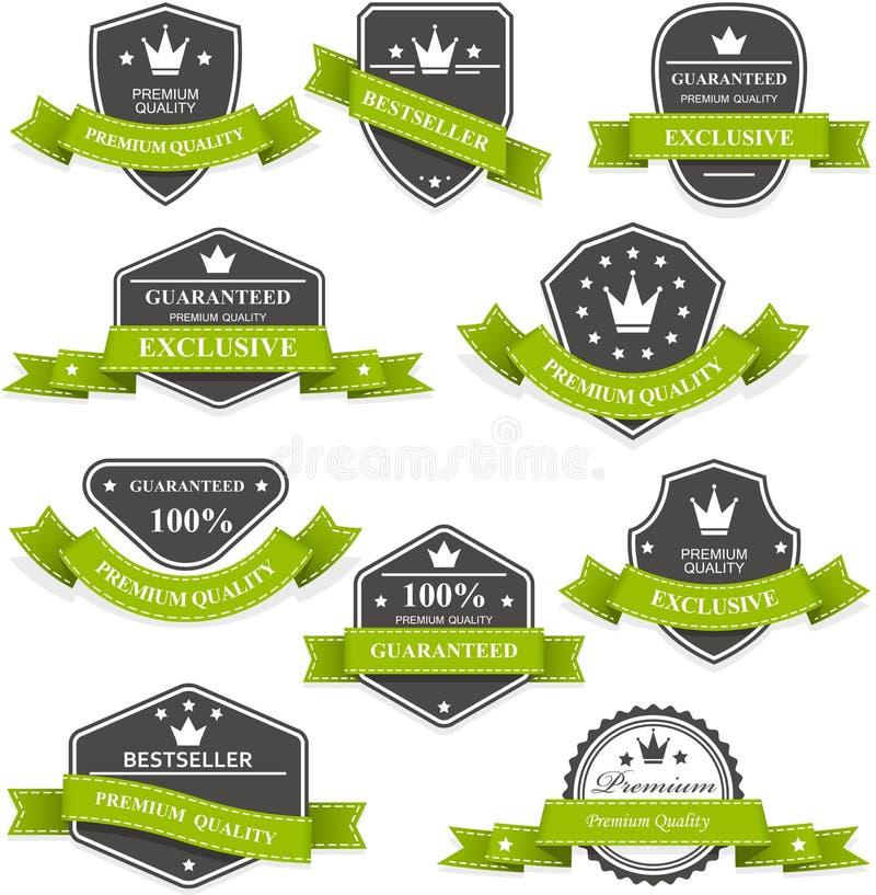 Médailles et emblèmes héraldiques avec des rubans illustration libre de droits