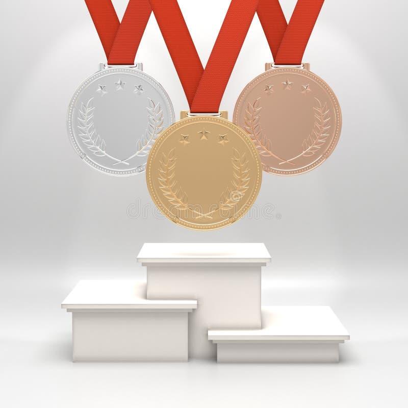 Médailles et podium illustration stock