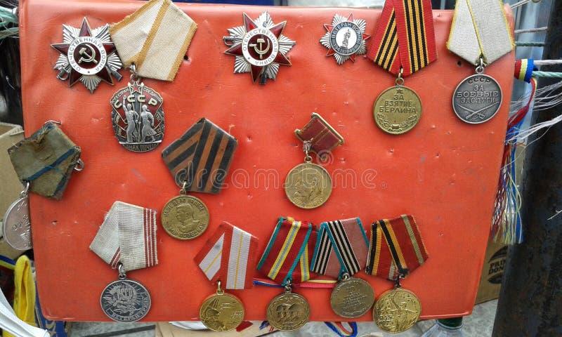 Médailles russes et sovietic de vintage photo stock