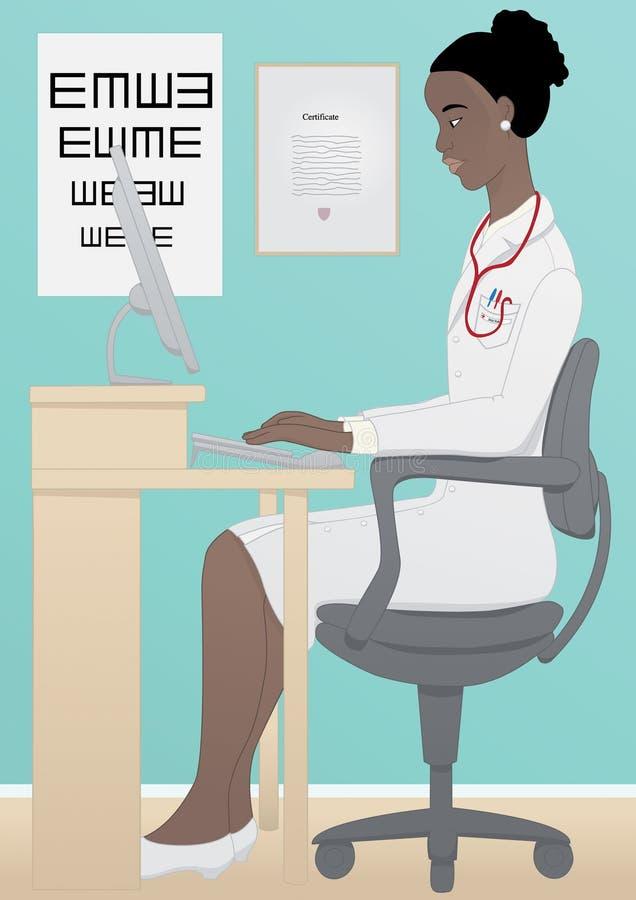Médecin africain travaillant sur l'ordinateur photos stock