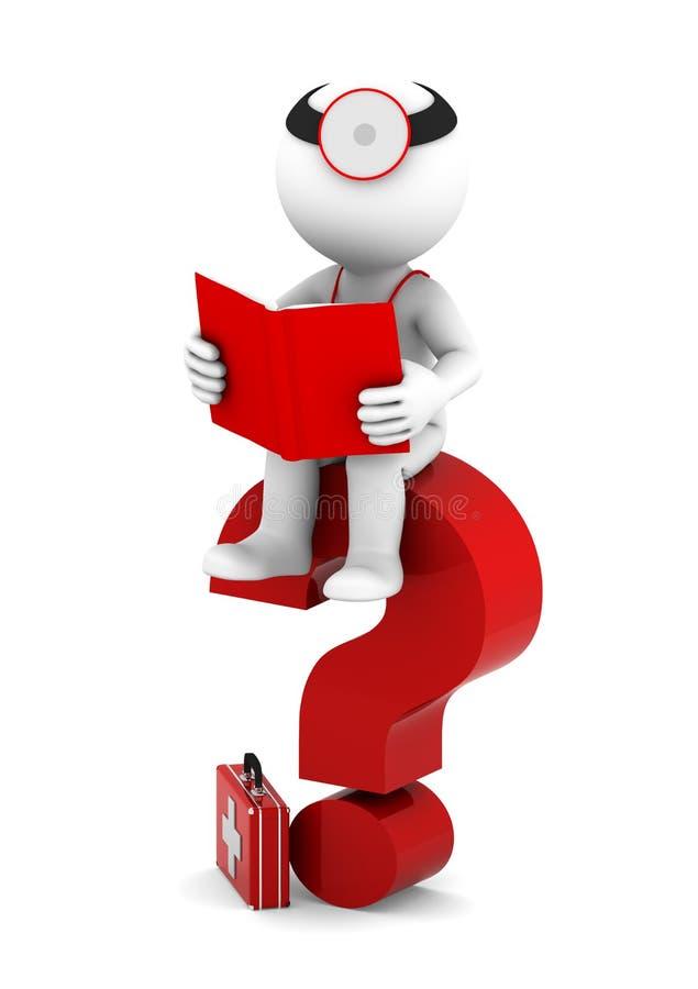 Médecin avec le livre sittting sur le point d'interrogation rouge illustration stock